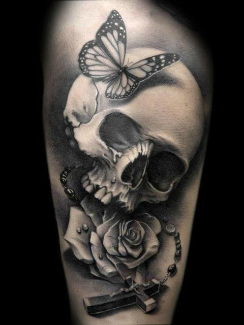 玫瑰纹身男/玫瑰 纹身 图案大全女/黑白玫瑰 纹身手稿-欧美男花臂纹身图片